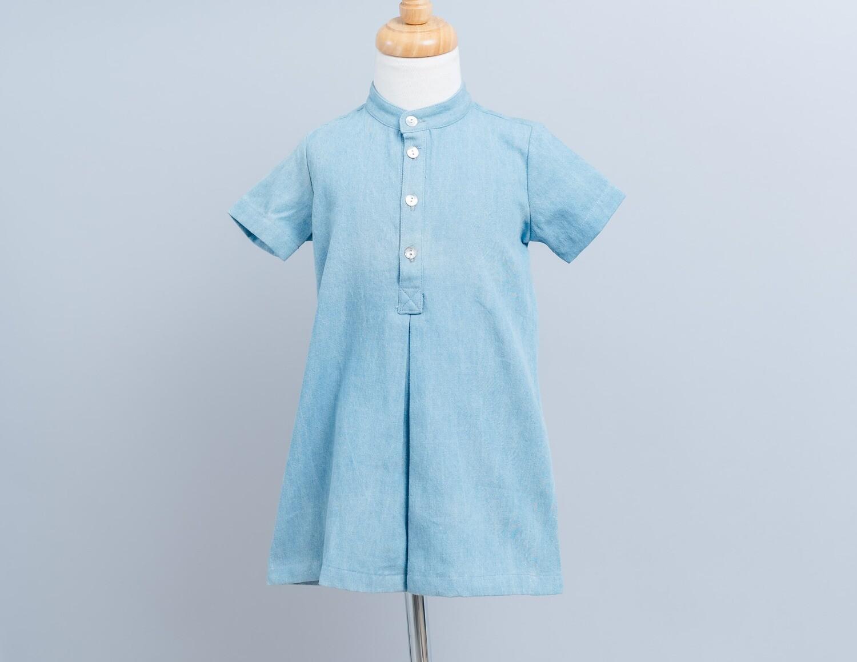 短袖岔裙洋裝-訂製 日系 氣質 女童洋裝