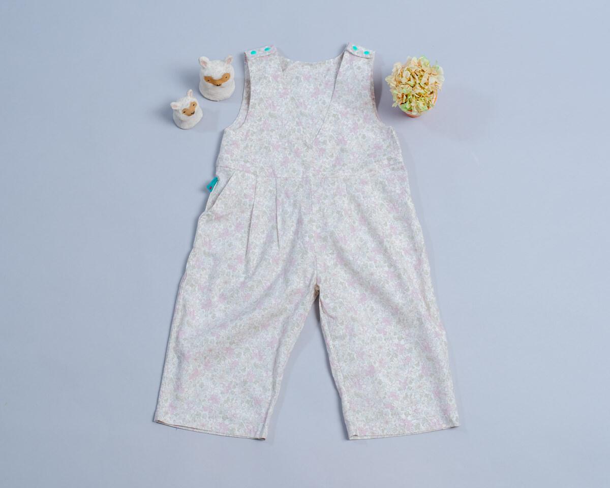 小v肩扣吊帶(長)褲-訂製 花31