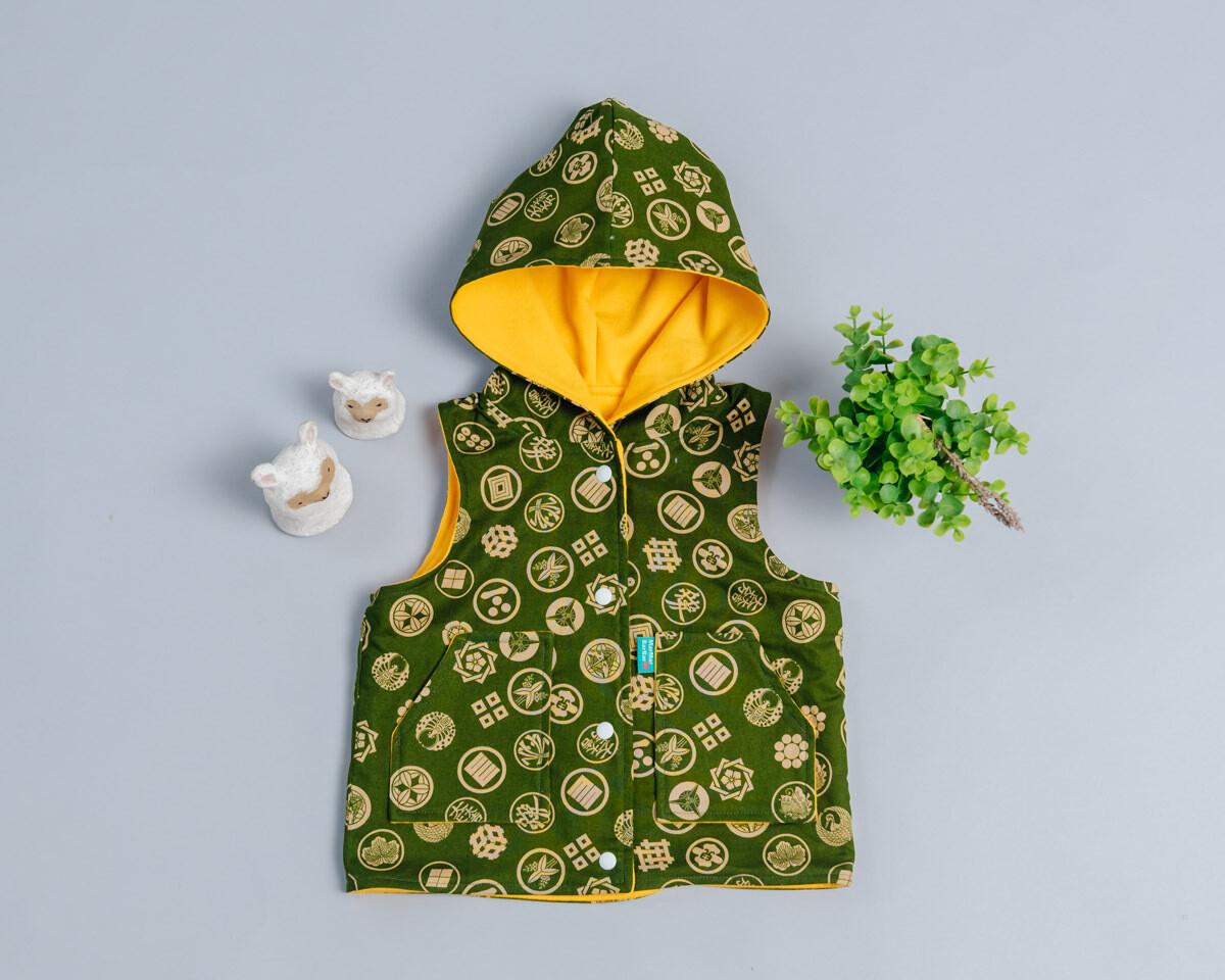 鋪棉戴帽(雙面)背心-訂製 和風12