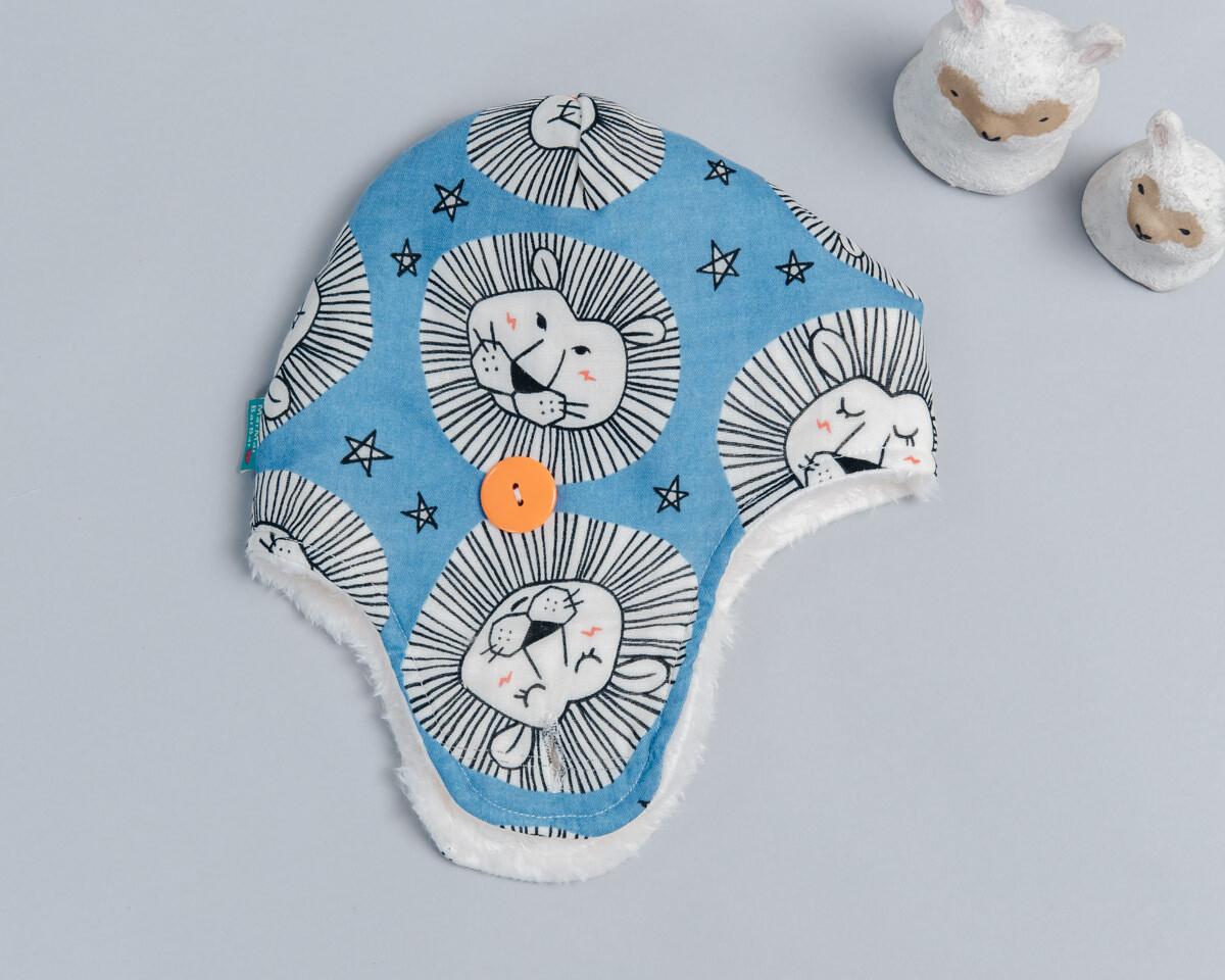 遮耳飛行帽(毛料)-訂製 動物1vs雪花毛