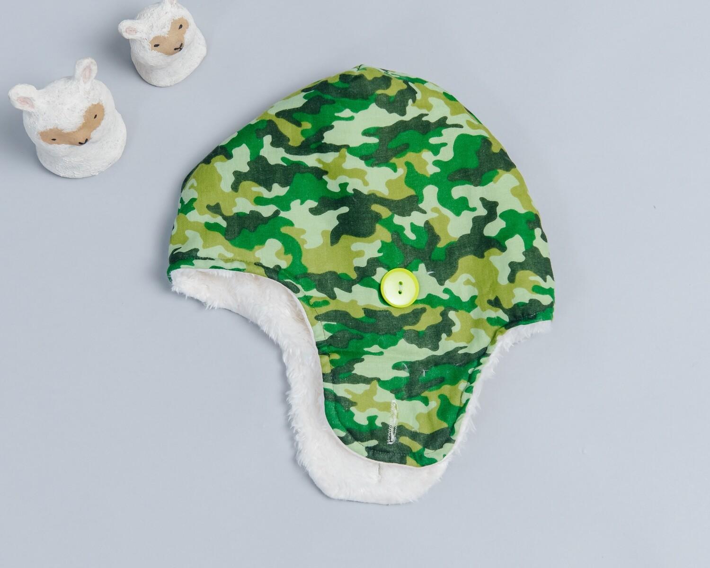 遮耳飛行帽(毛料)-訂製 迷彩3