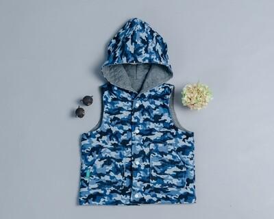 鋪棉戴帽(雙面)背心-訂製 迷彩2-紗vs高厚3