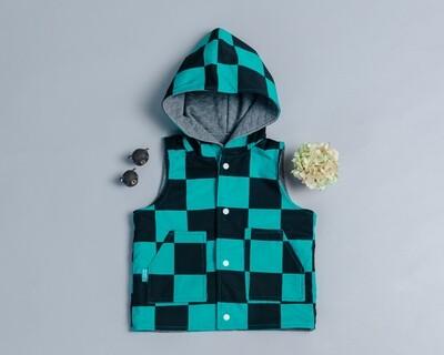 鋪棉戴帽(雙面)背心-訂製 和風1vs高厚3