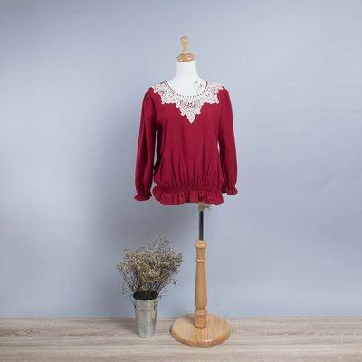 玫瑰紅棉麻花袖上衣