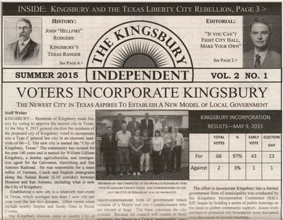 Kingsbury Independent Newspaper - Vol 2 No. 1 - Add one to your bag!