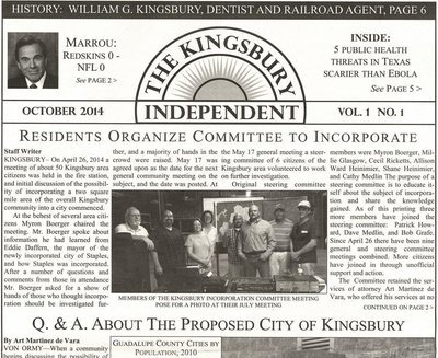 Kingsbury Independent Newspaper - Vol 1 No. 1 - Add one to your bag!