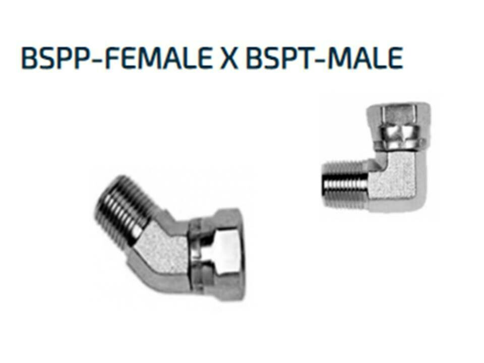 Hydraulic BSP 45° ELBOW ADAPTORS Male x Female