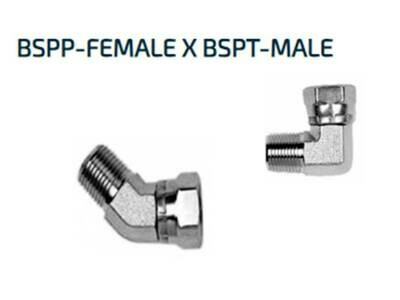 Hydraulic BSP 90° ELBOW ADAPTORS Male x Female