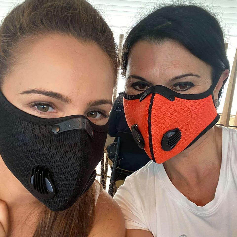 Respirator Mask Dual Valve 5 Layer Filter FFP2 N95 Washable
