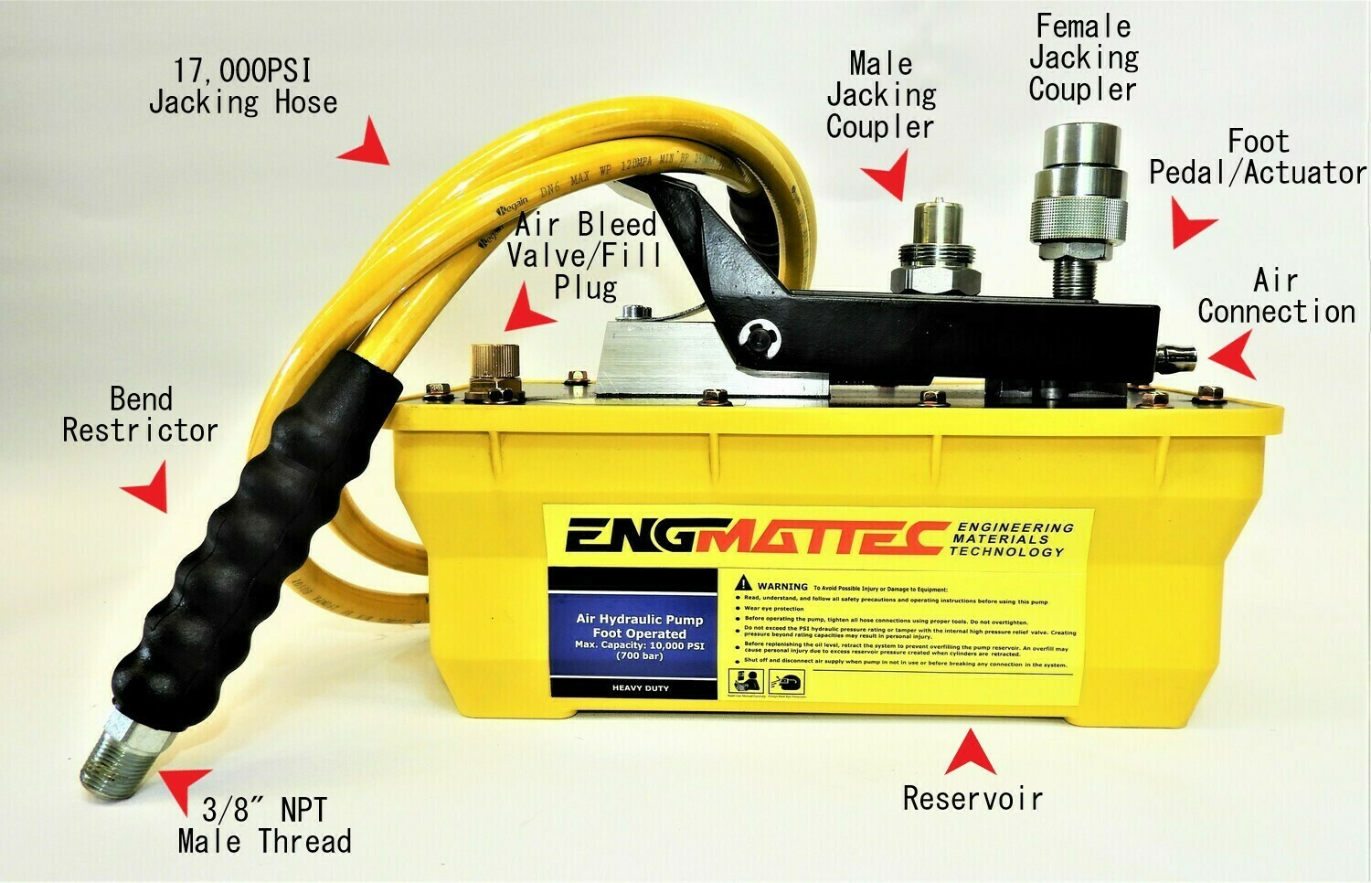 Portable Power Air operated 10000 psi Hydraulic Pump with 2m Hose