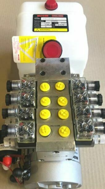 Hydraulic Power Pack Crane Truck 12 - 24V DC 4 x Dbl Acting 5.0 Lt/Min 3000 PSI