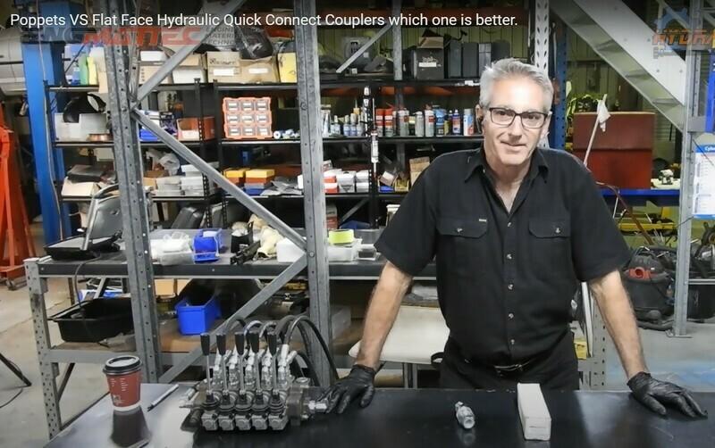 Pair 1/2 inch M/F Flat Face Dry Break Hydraulic Coupler
