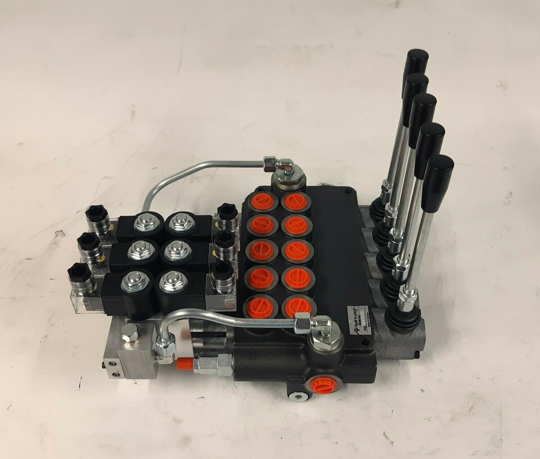5 Spool Electro-Hydraulic Ctrl Valve 80 Lpm Remote Ctrl