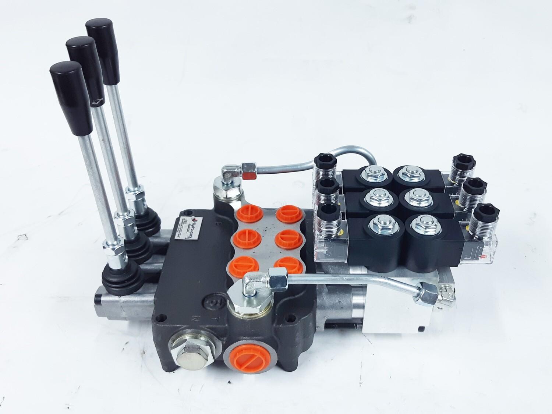 3 Spool Electro-Hydraulic Ctrl Valve 80 Lpm Remote Ctrl