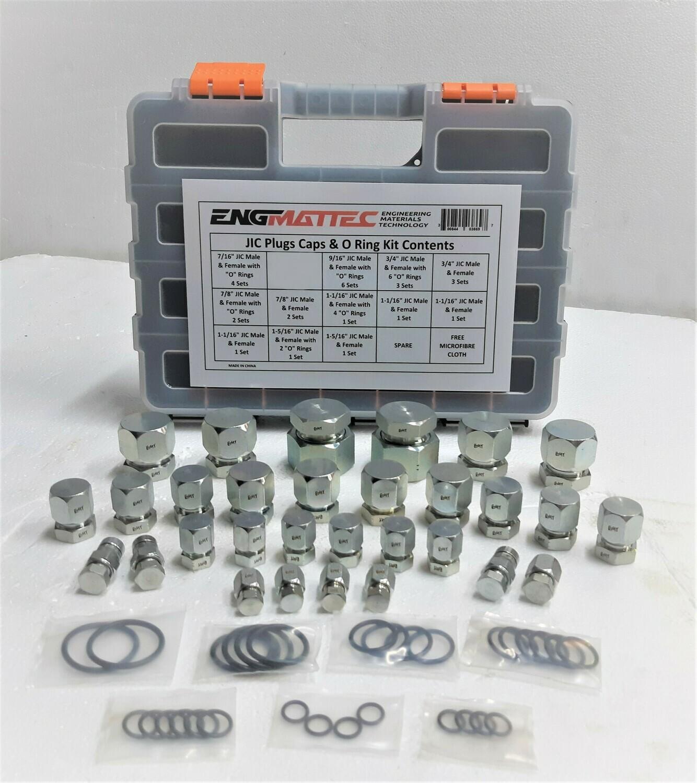 84 Pc JIC Plug & Cap Kit # 4 6 8 10 12 16 Strong Case + Bonuses