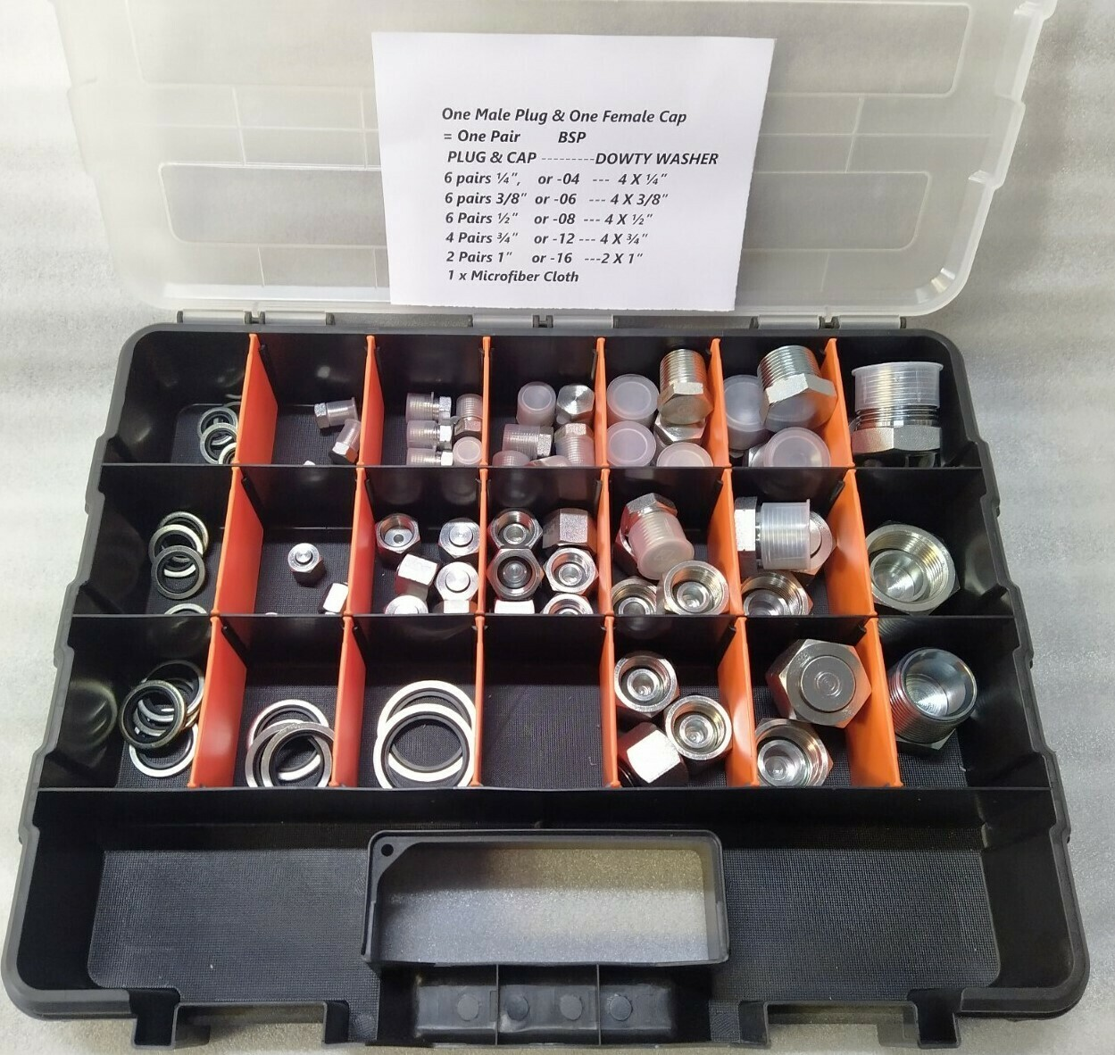 BSP  Plug & Cap Kit    52 Pc  Strong Case +DOWTY WASHER