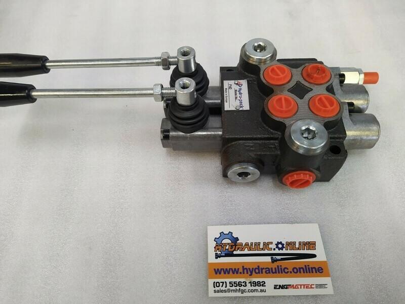 Hydraulic Flow Control Valve  BSP Ports 2 Spool Double Acting 40 Lpm Monoblock valve DCV