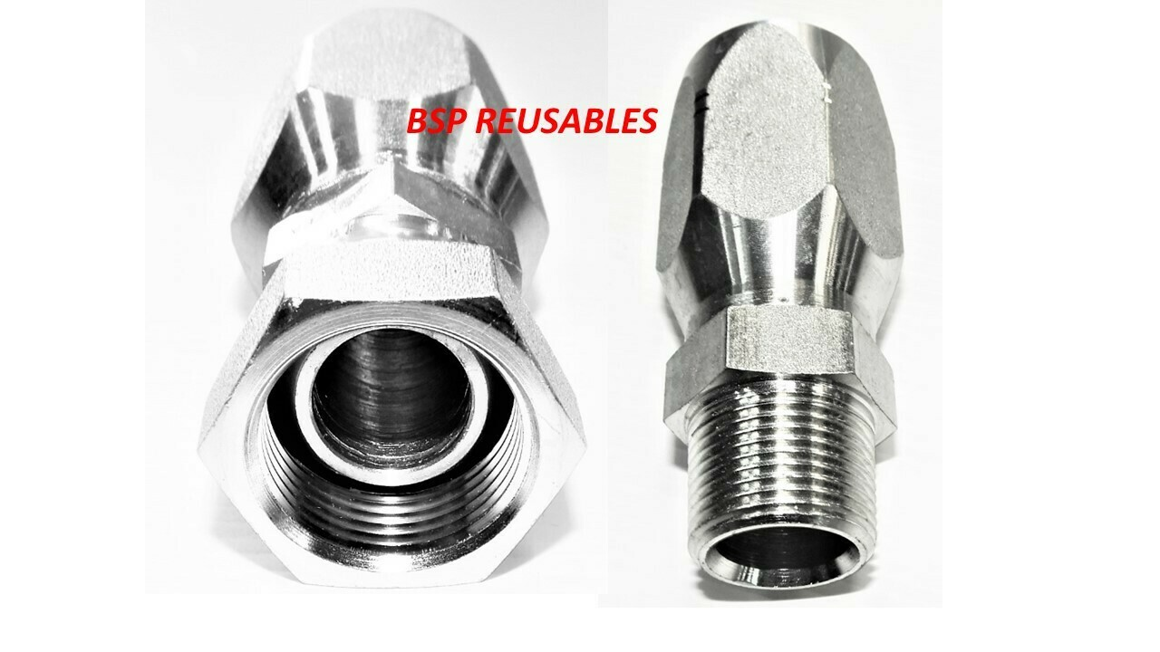 BSP Reusable Hydraulic Hose Fitting STRAIGHTS FEMALE & MALE##