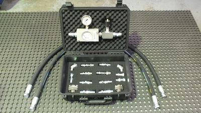 Hydraulic Circuit Oil / Water Flow & Leak Test Kit 0-36 Lt/Min 9 Gal/min 6000psi