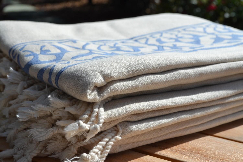 Mandalina Hand Stamped Bath Size  (5.5'x3.25)  Cotton/Linen