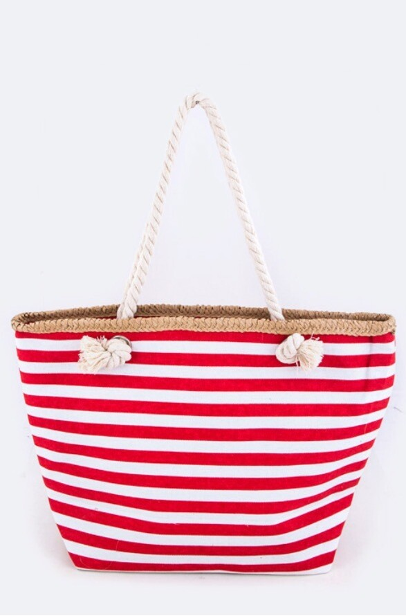 Nautical Pattern Straw Accent Fashion Tote