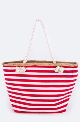 Nautical Pattern Straw Accent Fashion Tote