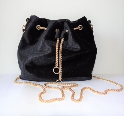 Velvet Small Bucket Bag with Chain