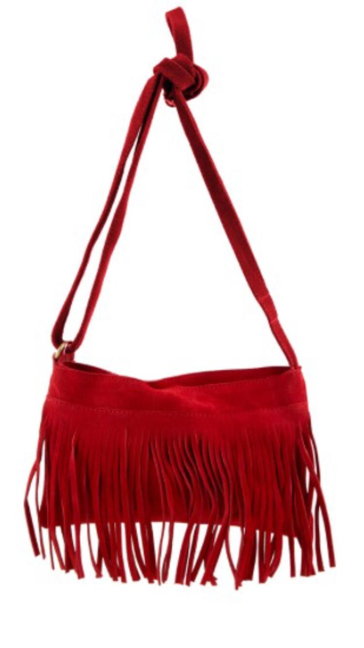 Genuine Leather Fringe Messenger Bag