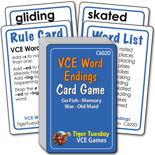 Card Game - VCE Word Endings (4 games in 1)