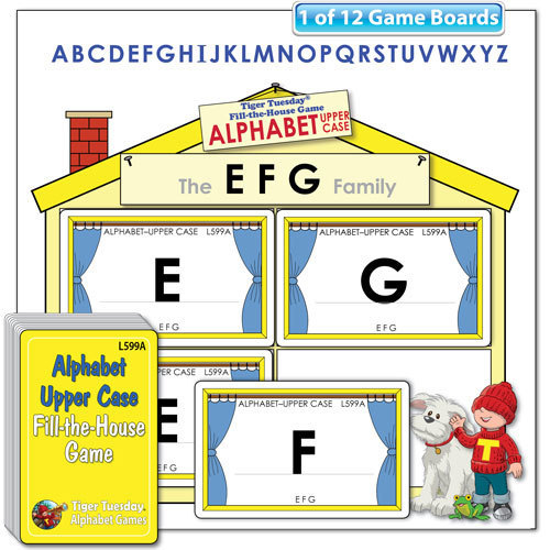Fill-the-House Game - Alphabet - Upper Case Letters