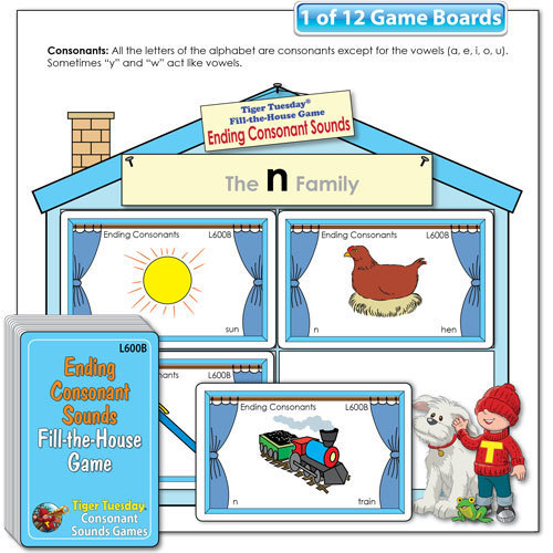 Fill-the-House Game - Ending Consonant Sounds