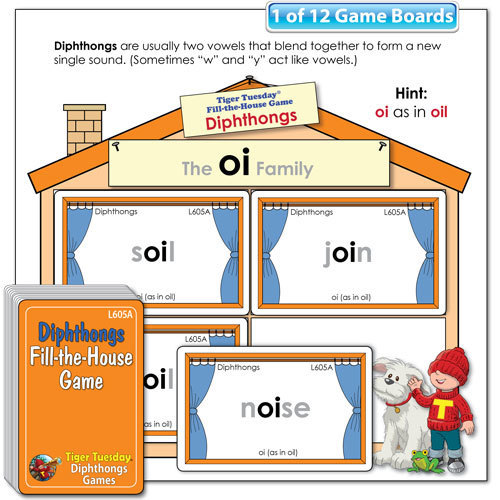 Fill-the-House Game - Diphthongs Word Families
