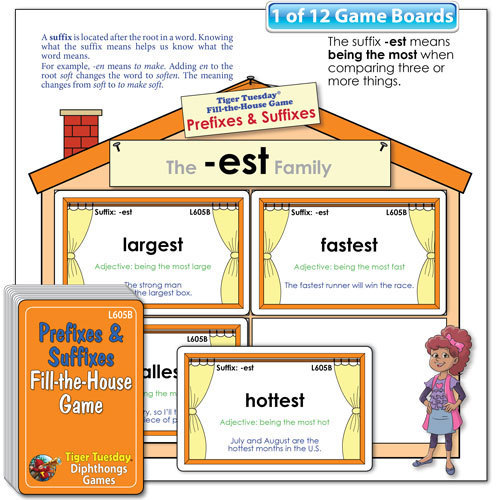 Fill-the-House Game - Prefixes and Suffixes