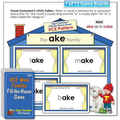 Fill the House Game - VCE Pattern Word Families