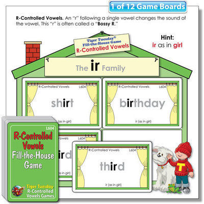 Fill-the-House Game - R-Controlled Vowels Word Families