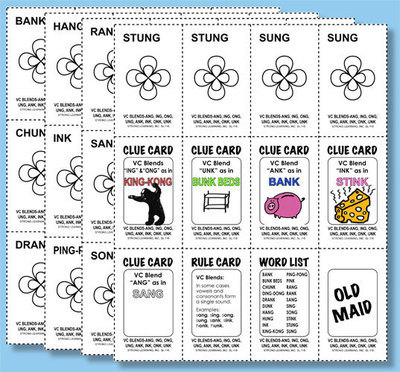 Phonics Games - Vowel Consonant  Blends - ANG, ING, ONG, UNG, ANK, INK, ONK, and UNK