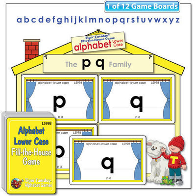 Fill-the-House Game - Alphabet - Lower Case Letters