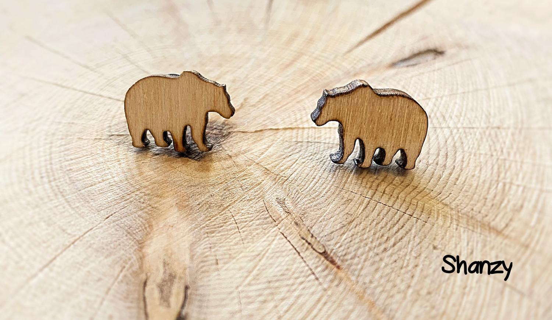 Bear Earrings Wood