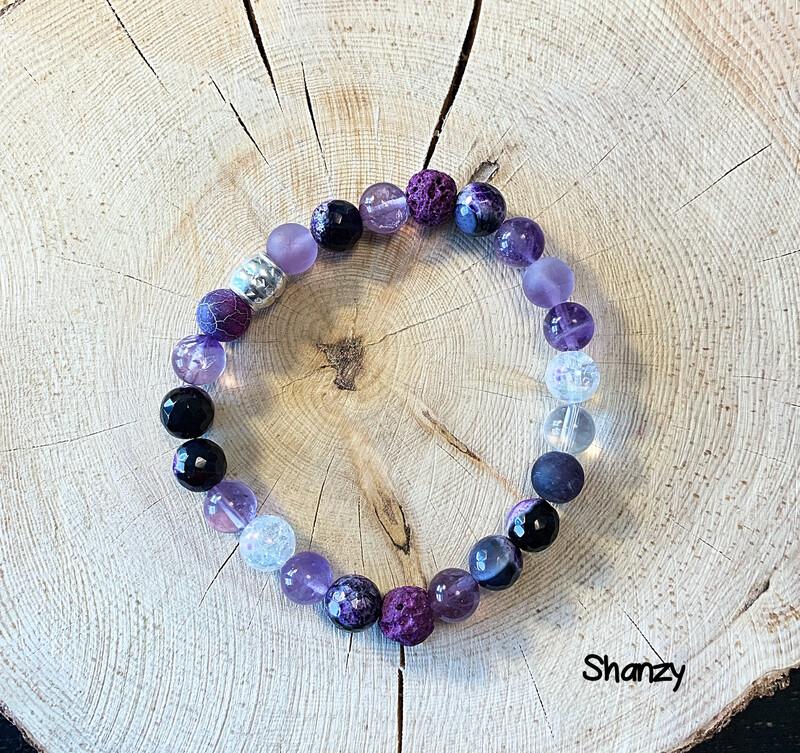 Agate, Amethyst, Quartz Stretch Bracelet