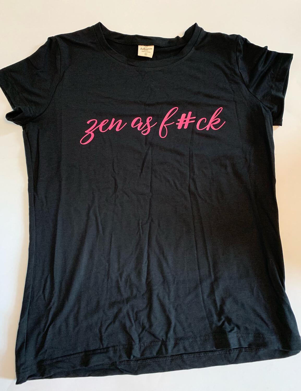 *Pre-order* Zen as F#ck Shirt Sleeve Shirt Buttercream Black With Raspberry