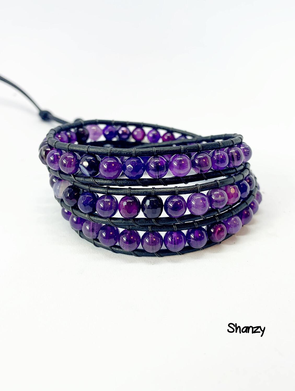 Amethyst Agate Wrap Bracelet
