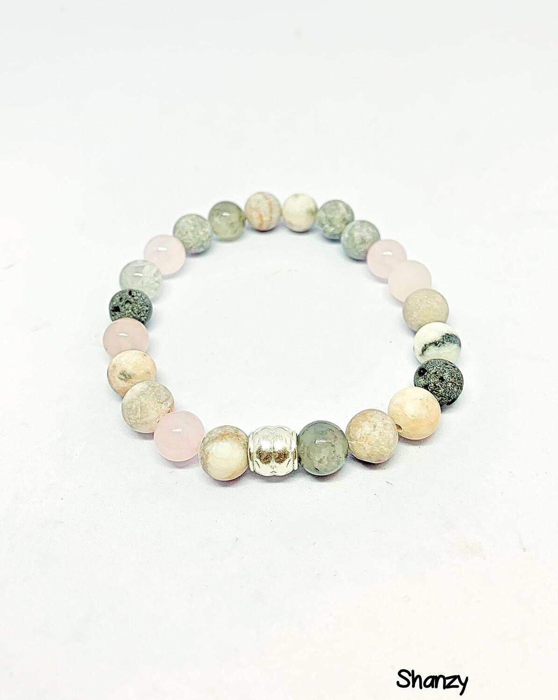 Zebra Jasper, Quartz & Rose Quartz Bracelet