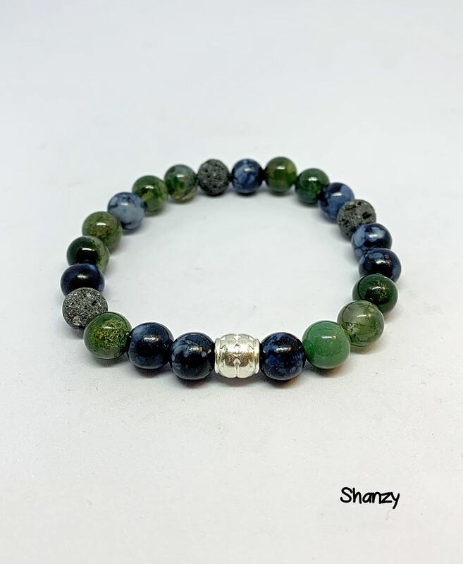 Moss Agate, Snowflake Obsidian Stretch Bracelet
