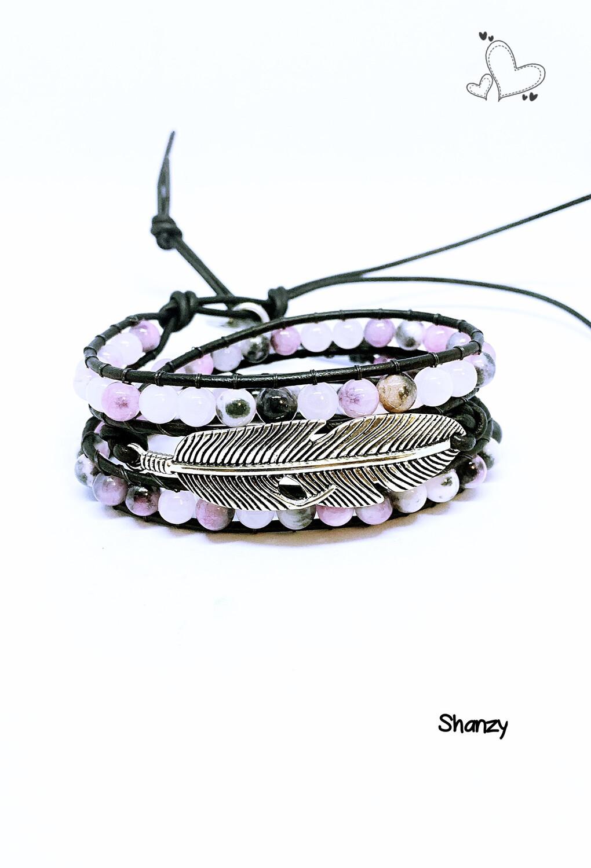 Agate / Rose Quartz Feather Wrap Bracelet