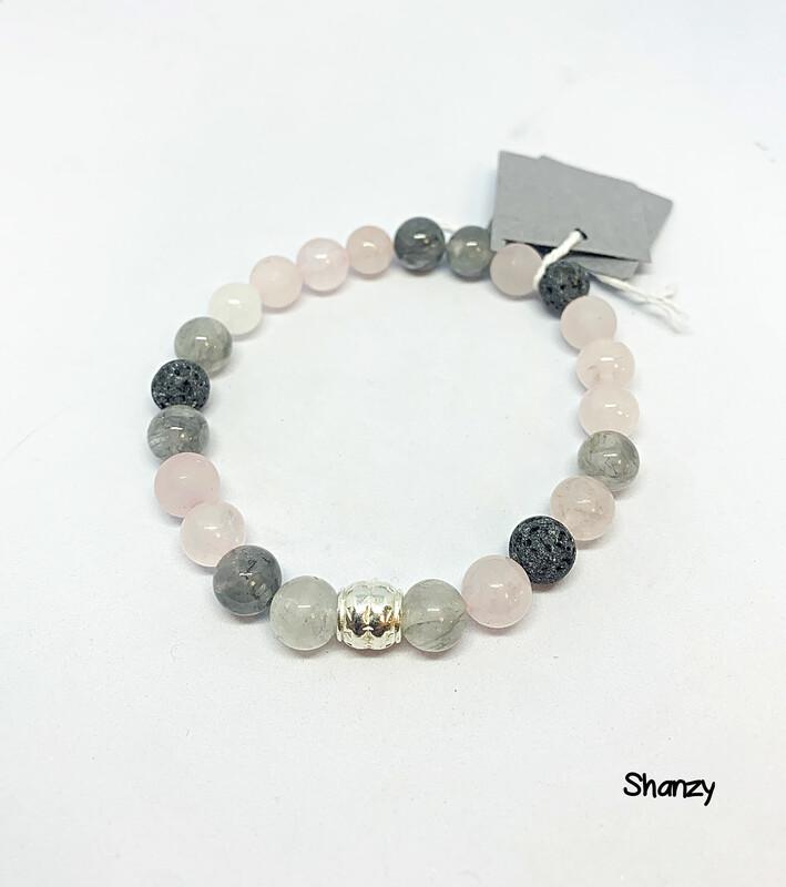 Rose Quartz, Quartz & Jade Stretch Bracelet