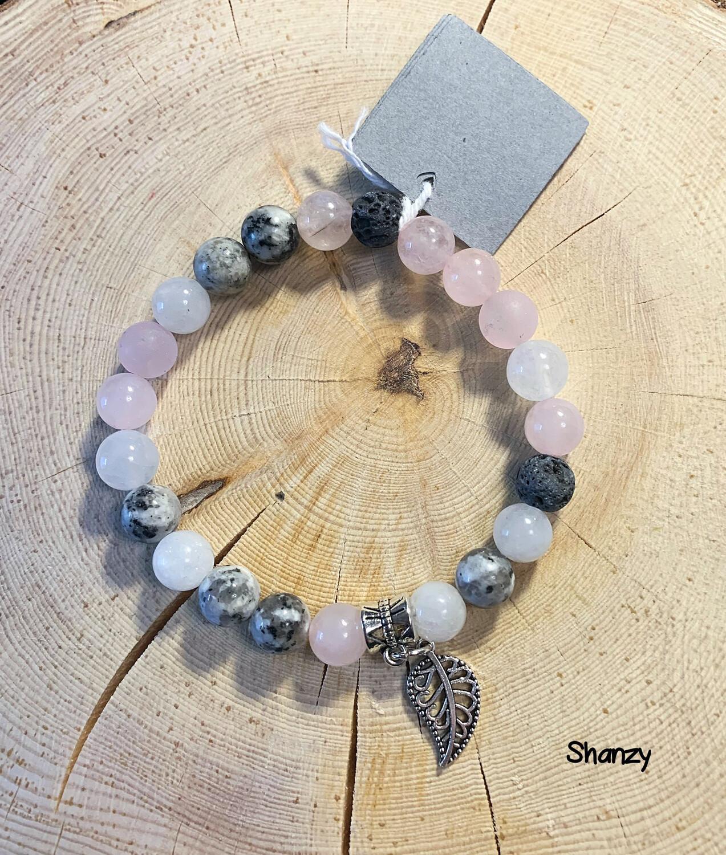 Rose Quartz, Sesame Jasper, Jade Stretch Bracelet