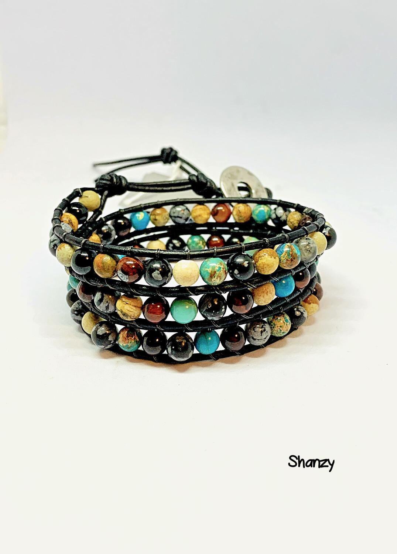 Tiger's Eye, Sea Sediment, Snowflake Obsidian & Picture Jasper Wrap Bracelet