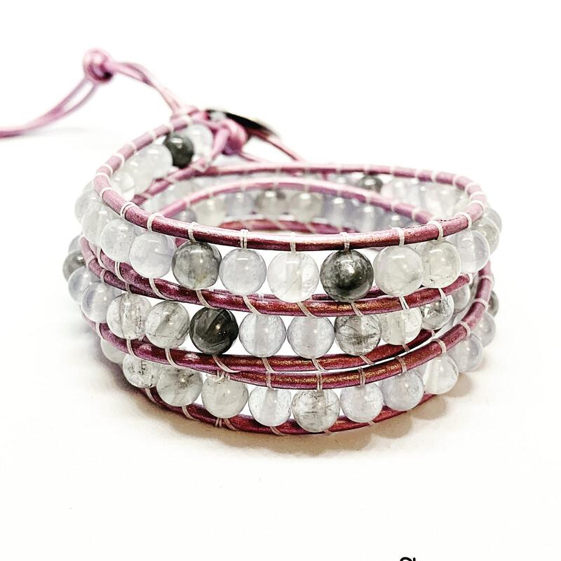 Grey Agate, Quartz Wrap Bracelet