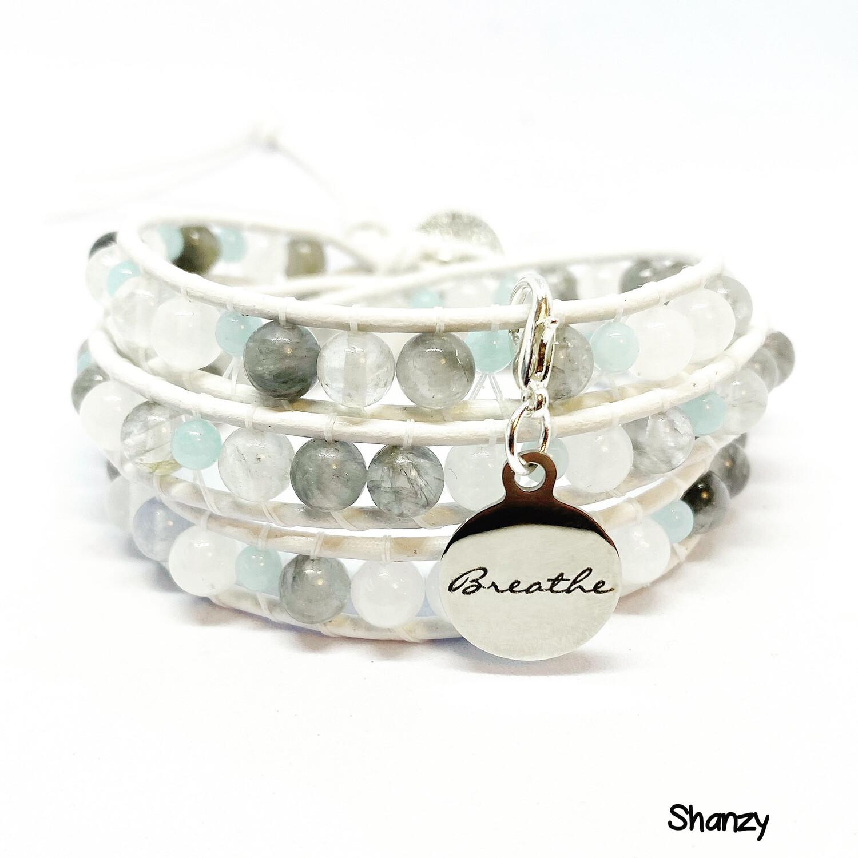 Quartz, Jade Wrap Bracelet Breathe Charm