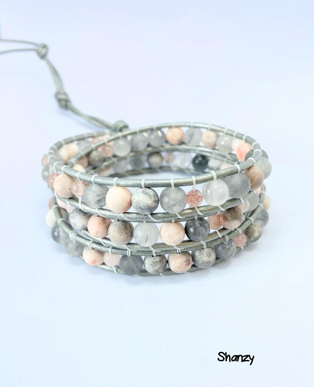 Pink Zebra Jasper Quartz Wrap Bracelet